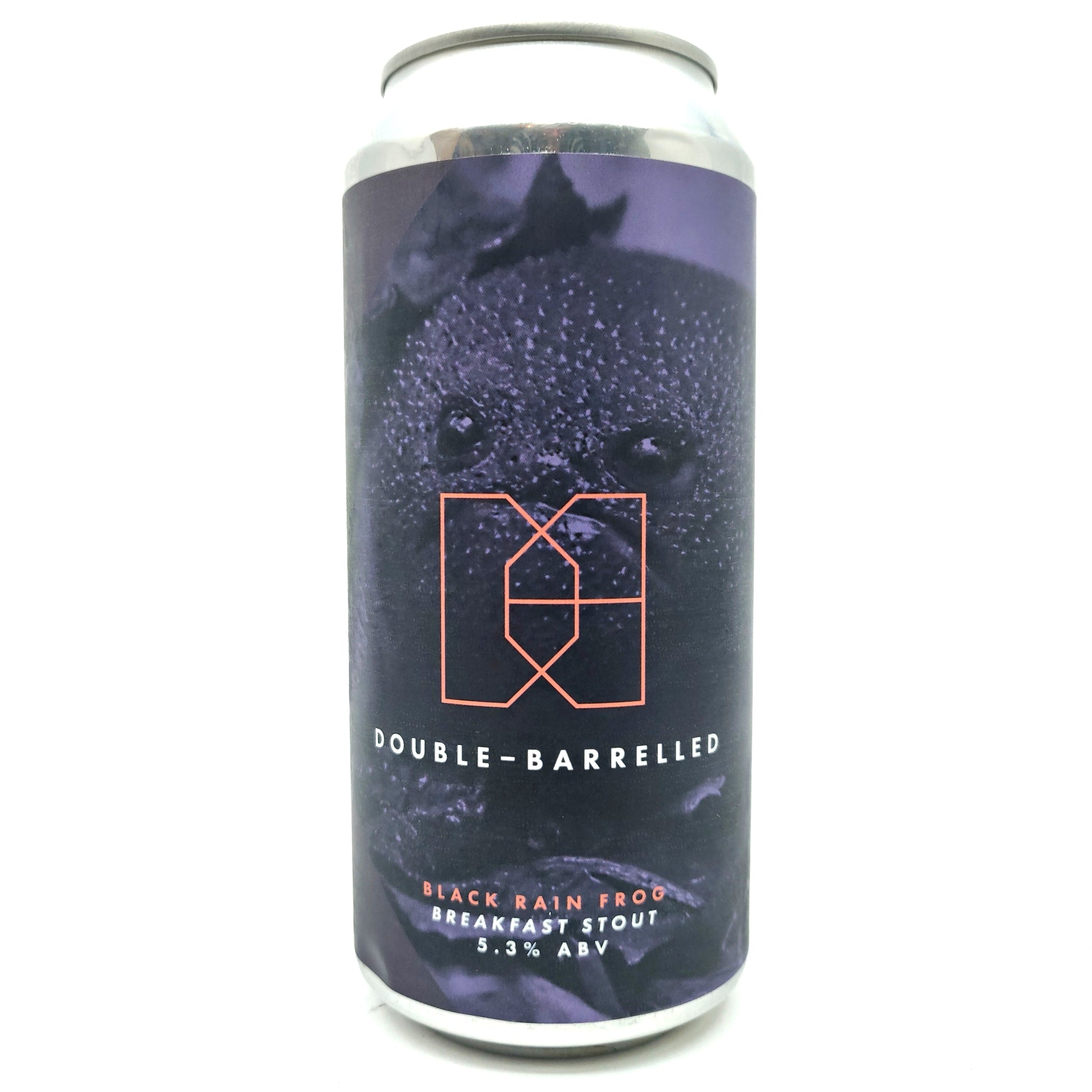 Double Barrelled Black Rain Frog Breakfast Stout 5.3% (440ml can)-Hop Burns & Black