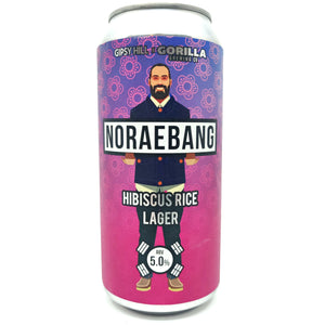 Gipsy Hill x Gorilla Brewing Co Noraebang Hibiscus Rice Lager 5% (440ml can)-Hop Burns & Black