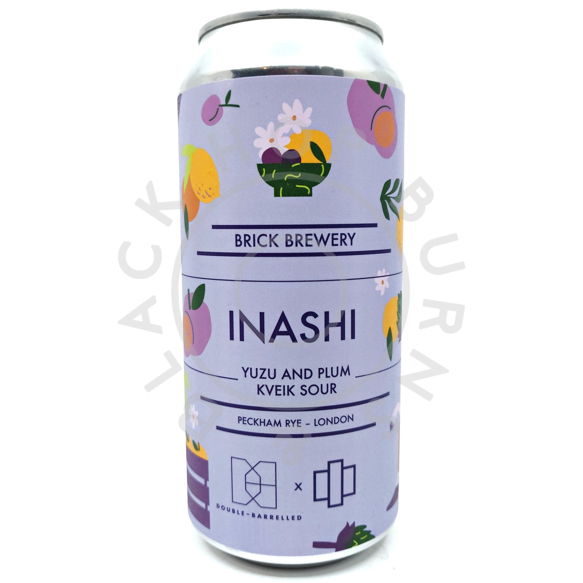 Brick Brewery x Double Barrelled Inashi Yuzu & Plum Kveik Sour 4.5% (440ml can)-Hop Burns & Black