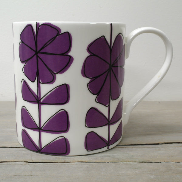 Contemporary English Fine Bone China Floral linear bright coloured mug w/black overlay