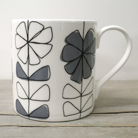 Contemporary English Fine Bone China Floral linear open bright coloured mug w/black overlay