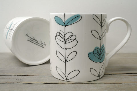 English Fine Bone China Heart Linear Open Mug