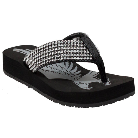 WOMEN'S JEWELED LOW THONG SANDAL BLACK