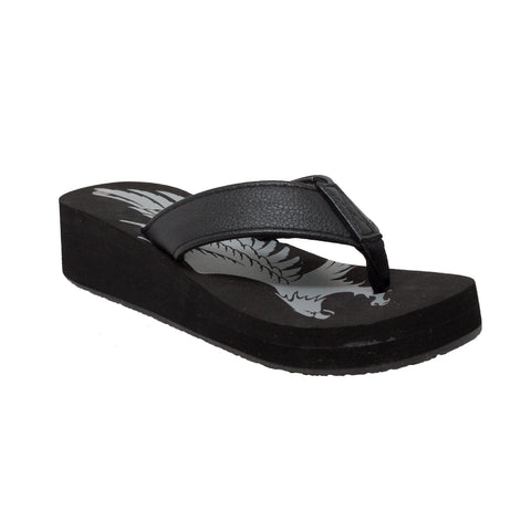 WOMEN'S EAGLE THONG SANDAL BLACK