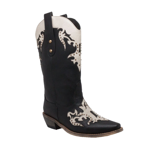 "Women's 13"" Western Pull On with Inlay Accents and Studs Black/Offwhite, Western, Marcus Allen Accessories - Marcus Allen Accessories"