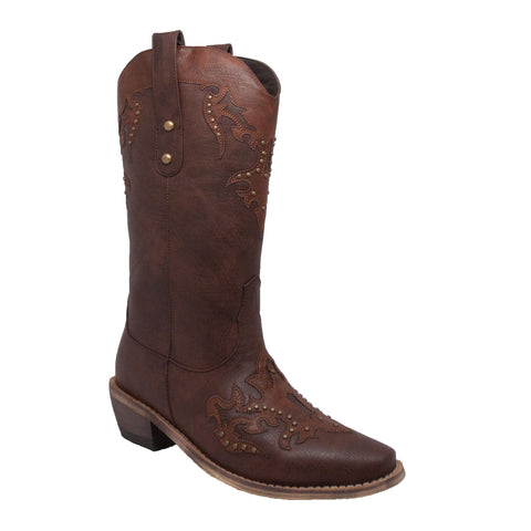 "Women's 13"" Western Pull On with Inlay Accents and Studs Brown, Western, Marcus Allen Accessories - Marcus Allen Accessories"