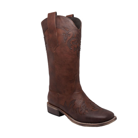 "WOMEN'S 13"" WESTERN PULL ON WITH INLAY ACCENTS BROWN"