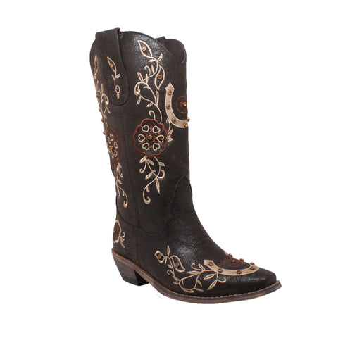 "13"" Western Pull-On with Floral Embroidery & Rhinestones, Boot, Marcus Allen Accessories - Marcus Allen Accessories"