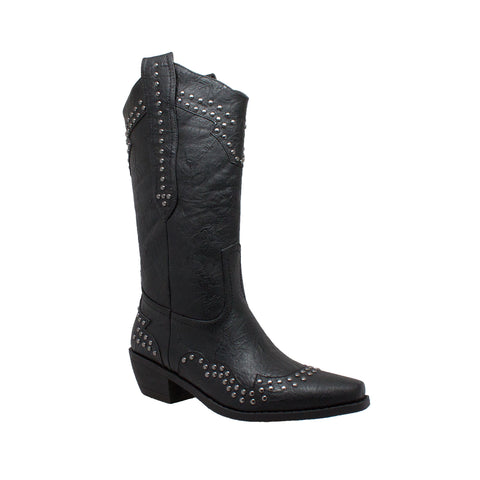 "Women's 14"" Western Pull On Boots with Foot & Collar Studs Black, Western, Marcus Allen Accessories - Marcus Allen Accessories"