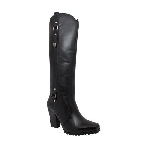 "Women's 20"" Heeled Biker Boot Black, Biker, Marcus Allen Accessories - Marcus Allen Accessories"