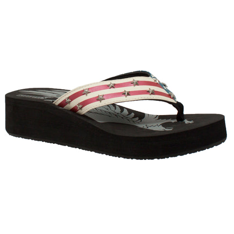 WOMEN'S THONG US FLAG SANDAL BLACK
