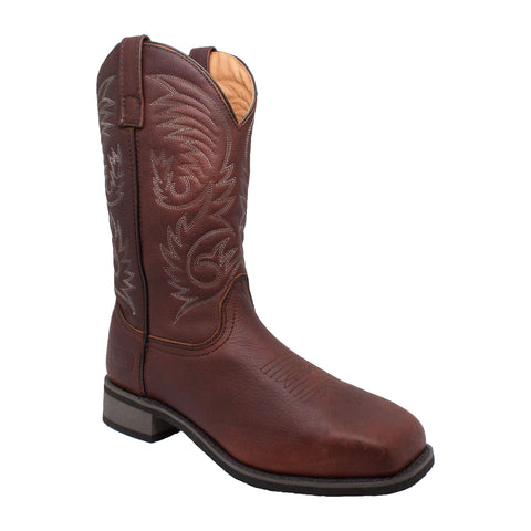 "MEN'S 11"" STEEL SQUARE TOE WESTERN PULL ON BROWN"