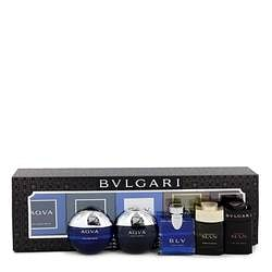 Bvlgari Man In Black Gift Set By Bvlgari Travel Size Gift Set Includes Bvlgari Aqua Atlantique, Aqua Pour Homme, BLV, Man Wood Essence, Man in Black all in .17 oz sizes