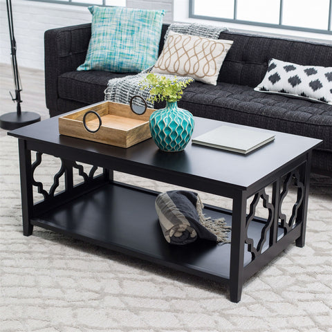 Black Quatrefoil Coffee Table with Solid Birch Wood Frame