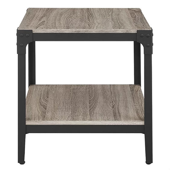 Set of 2 Modern Metal Frame End Table Nightstand in Driftwood Finish