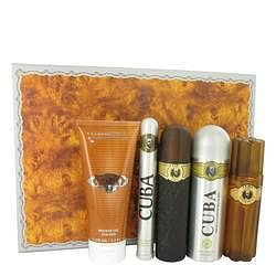 Cuba Gold Gift Set By Fragluxe 3.3 oz Eau De Toilette Spray + 3.3 oz After Shave Spray + 6.7 oz Body Deodorant Spray + 6.7 oz Shower Gel +  1.17 oz EDT Spray