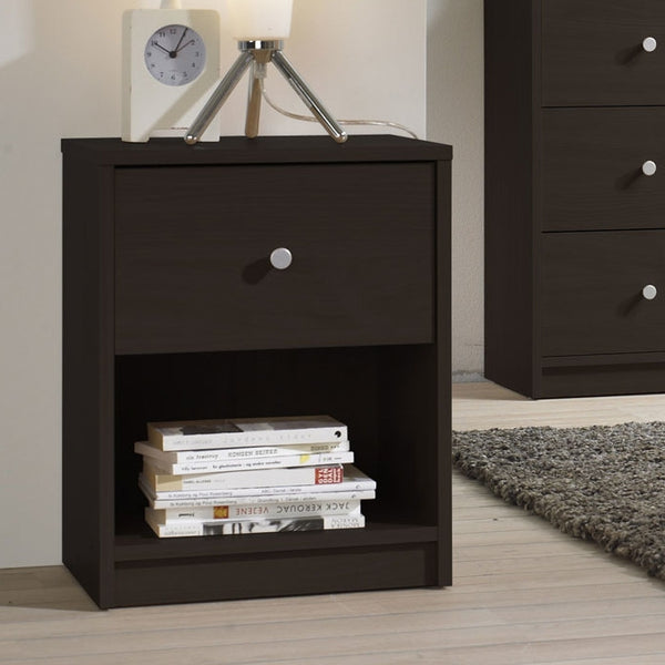 Modern 1-Drawer Bedroom Nightstand in Dark Brown Wood or White Finish