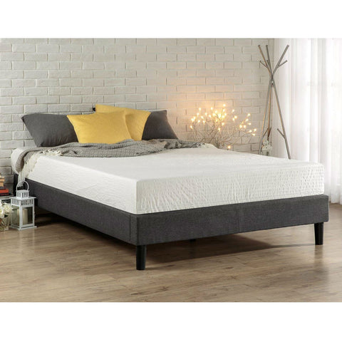 Full size Upholstered Platform Bed Frame with Padded Grey Upholstery