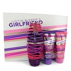 Girlfriend Gift Set By Justin Bieber 3.4 oz Eau De Parfum Spray + 3.4 oz Body Lotion + 3.4 oz Shower Gel
