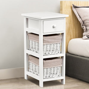 White Wood 1-Drawer End Table Nightstand with 2 Wicker Baskets