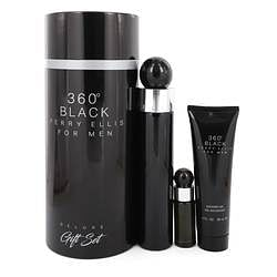 Perry Ellis 360 Black Gift Set By Perry Ellis 3.4 oz Eau De Toilette Spray + .25 oz Mini EDT Travel Spray + 3 oz Shower Gel