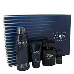 Perry Ellis Aqua Extreme Gift Set By Perry Ellis 3.4 oz Eau De Toilette Spray + .25 oz Mini EDT Spray + 6.8 oz Body Spray + 1.7 oz Shower Gel