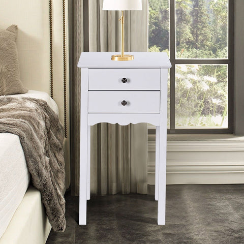 Elegant 2-Drawer End Table Nightstand Side Table in Black or White