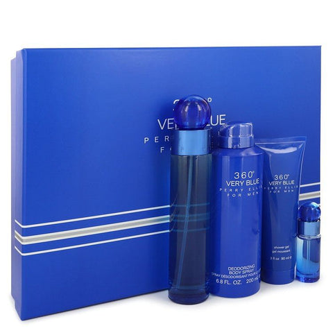 Perry Ellis 360 Very Blue Gift Set By Perry Ellis 3.4 oz Eau De Toilette Spray + .25 oz Mini EDT Spray + 3 oz Shower Gel + 6.8 oz Body Spray