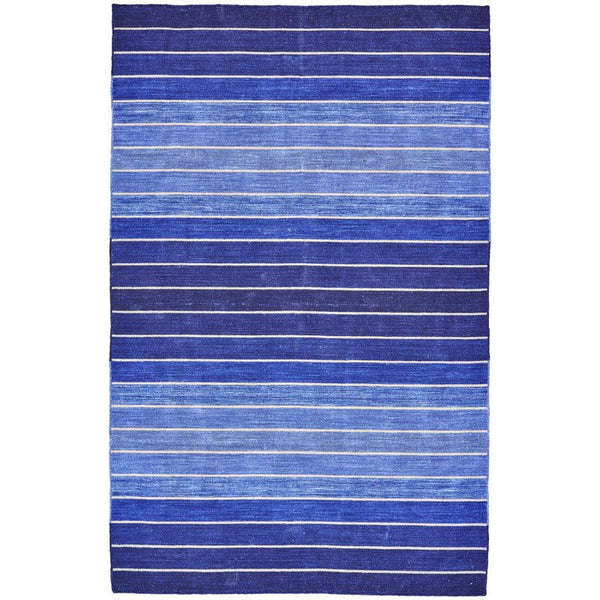 Striped Hand-Tufted Wool/Cotton Blue Area Rug - Select Your Size