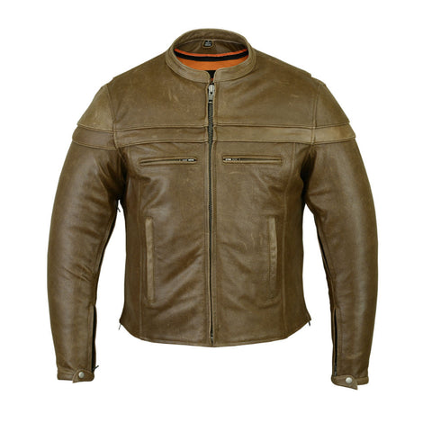 DS701R Men's Brown Sporty Scooter Jacket, Motorcycle, Marcus Allen Accessories - Marcus Allen Accessories