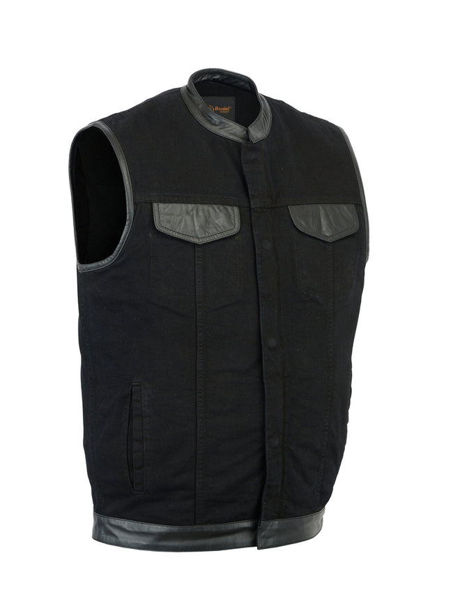 DM992 Men's Black Denim Single Panel Concealment Vest W/ Leather Trim, Motorcycle, Marcus Allen Accessories - Marcus Allen Accessories