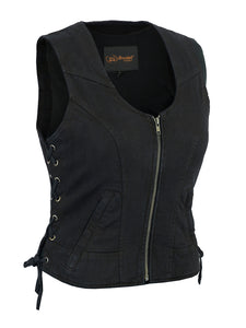 DM942BK Women's Stylish Black Denim Vest, Motorcycle, Marcus Allen Accessories - Marcus Allen Accessories