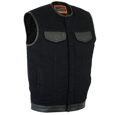 DM991 Men's Black Denim Single Panel Concealment Vest W/Leather Trim-, Motorcycle, Marcus Allen Accessories - Marcus Allen Accessories