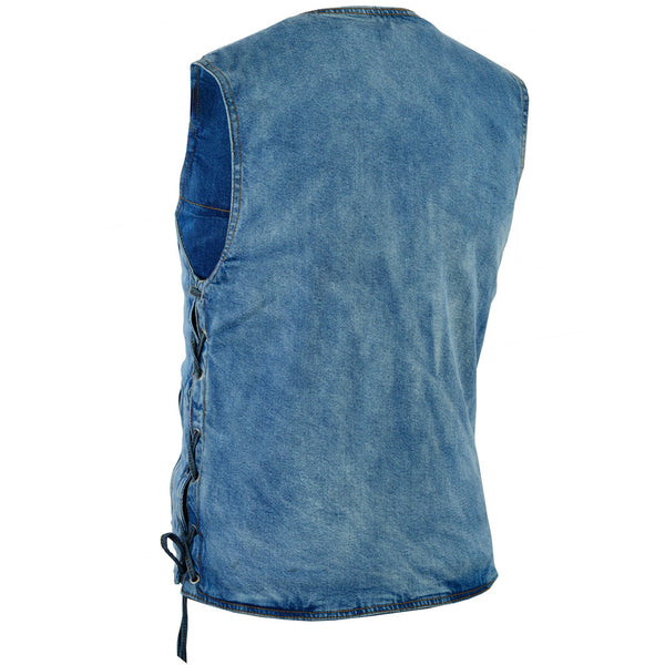 DM905BU    Men's Single Back Panel Concealed Carry Denim Vest, Motorcycle, Marcus Allen Accessories - Marcus Allen Accessories