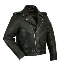 Men's Classic Plain Side Police Style M/C Jacket, Motorcycle, Marcus Allen Accessories - Marcus Allen Accessories