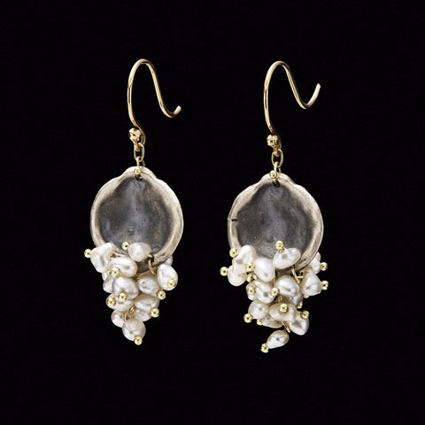 Oyster Disc Beaded Keshi Cluster Earring
