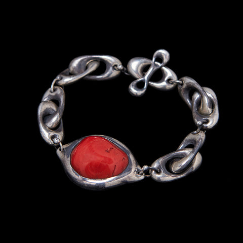 Puff Oval Link and Coral Pendant Bracelet