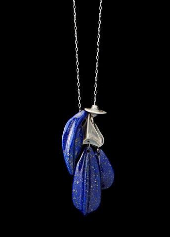 Lapis and Silver Fetish Charm Necklace