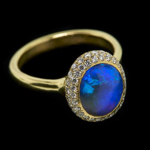 Gold Black Opal Paved Ring
