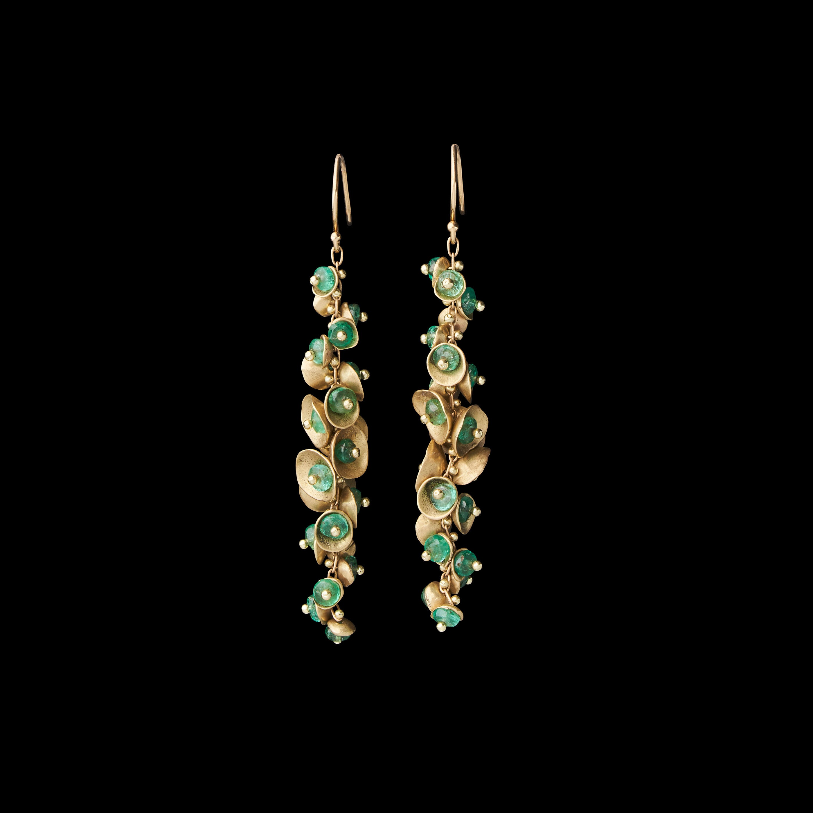 Long Emerald Buttercup Earring