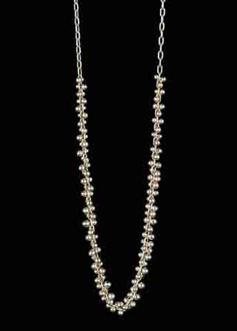 Beaded Extra Long Center Cluster Necklace