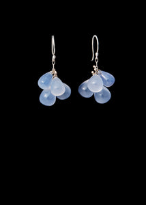 Briolette Small Cluster Drop Silver Earrings