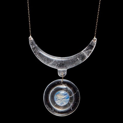 Crystal and Moonstone Sun Pendant Necklace