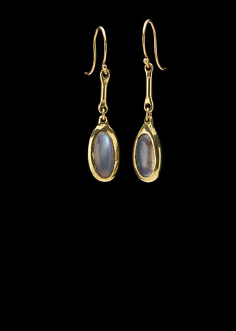 Tiny Cast Line Moonstone Earring