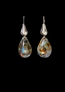 Double Teardrop Silver and  Stone Earring