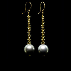 signature beaded tahitian pearl drop earring