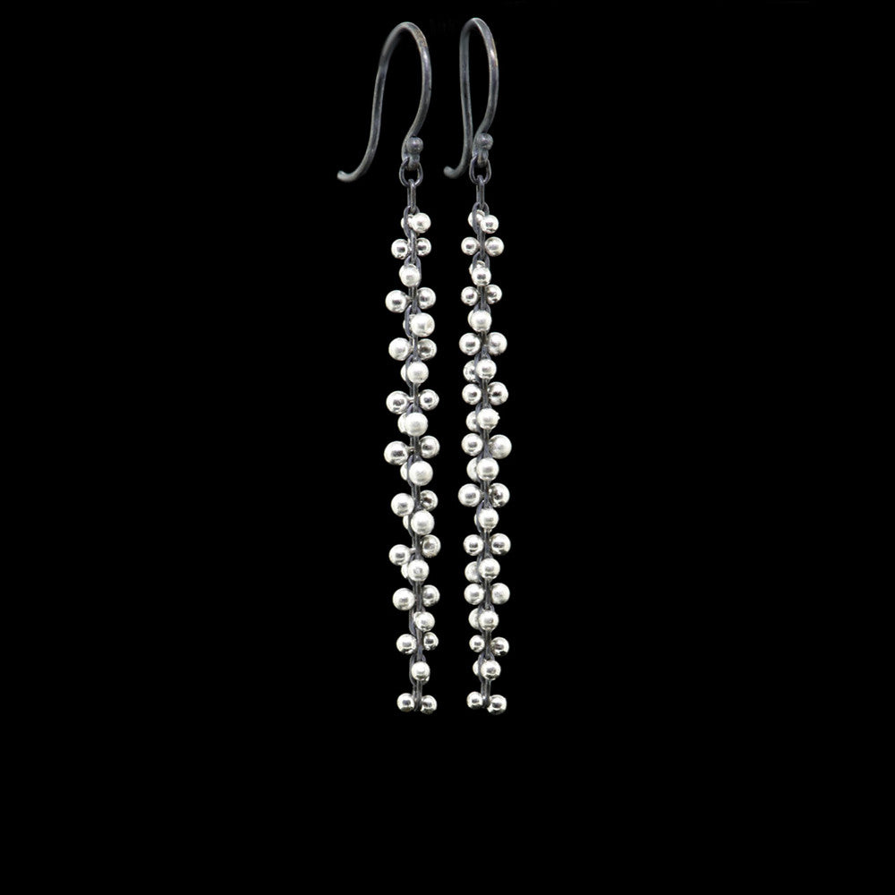 signature beaded long cluster earrings