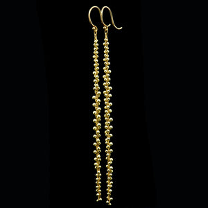 signature beaded extra long cluster earring