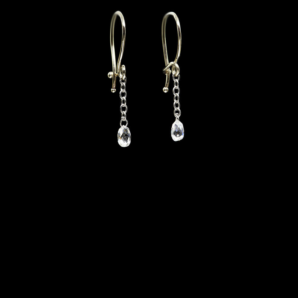 diamond single briolette earring