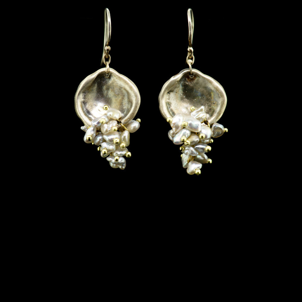 shell shape with pearl cluster earring